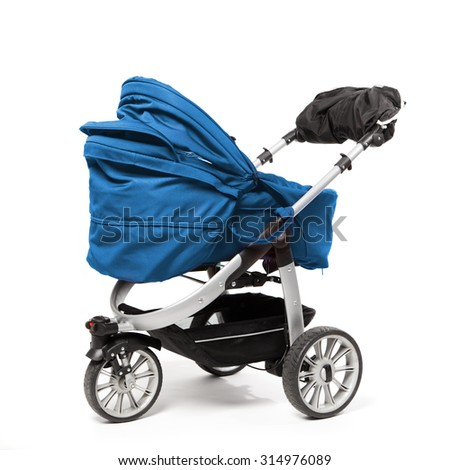 blue baby stroller isolated on white - stock photo