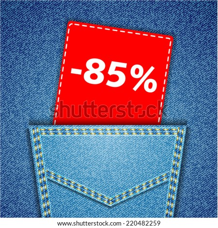 Blue back jeans pocket realistic denim texture with number percent sale tag - stock photo
