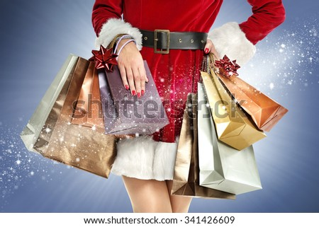 blue background and closeup of bags  - stock photo