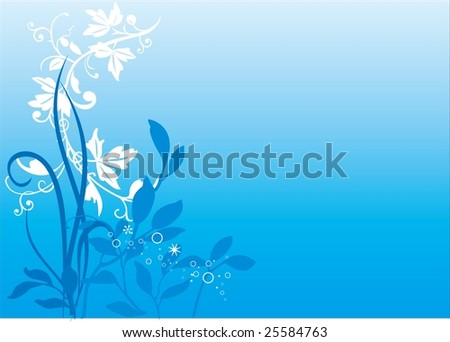 Blue background and floral ornament.