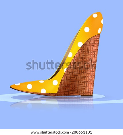 blue background and the yellow ladys shoe-platform - stock photo
