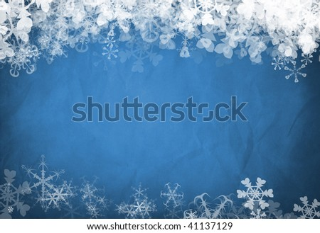 Blue background famed by white snowflakes at the top and bottom - stock photo