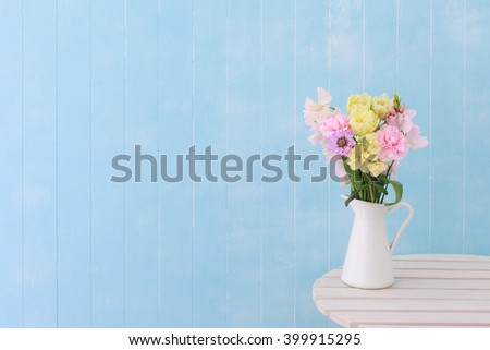 Blue background Flower Arrangement - stock photo