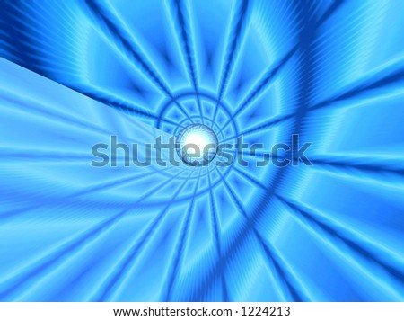 Blue background. flying ball - stock photo