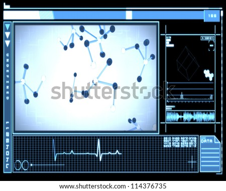 Blue background molecule cells technology - stock photo