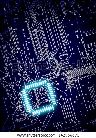 blue  background of digital circuit board - stock photo