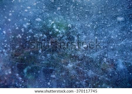 blue background of ice - stock photo