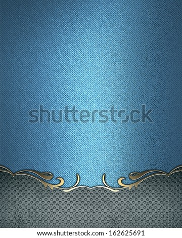 Blue background with a vintage sign with gold trim.  Design template - stock photo