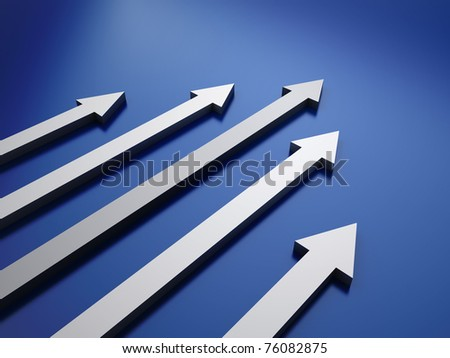 Blue background with 5 arrows (success concept) - stock photo