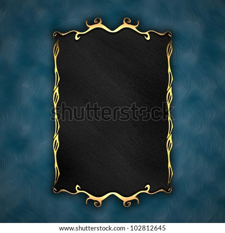 Blue Background with Black plate and gold trim