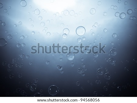 Blue background with bubbles - stock photo