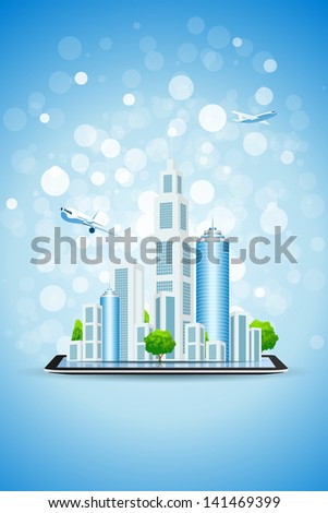 Blue Background with Business City on Tablet Computer and two airplanes above him