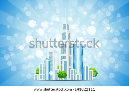 Blue Background with Business City, Sparkles and Rays