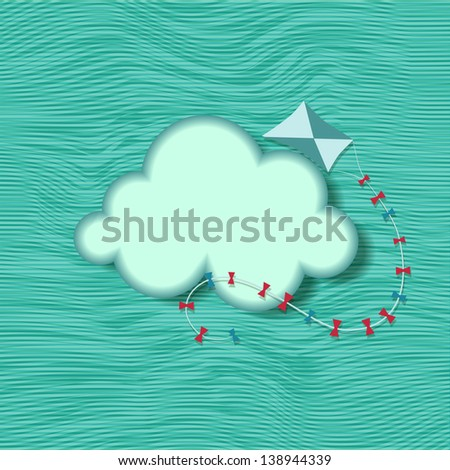 Blue background with clouds and kite. Raster copy of vector image - stock photo
