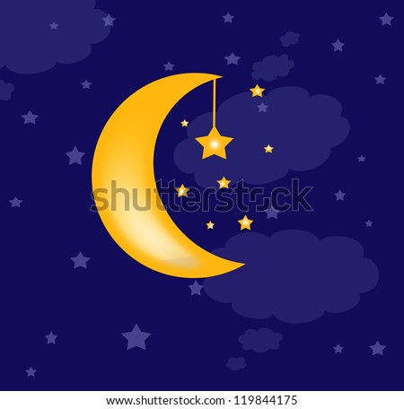 blue background with clouds, the new moon and the stars - stock photo