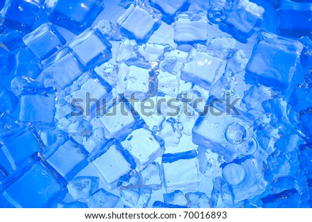Blue background with cube ice - stock photo