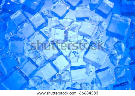 Blue background with cube ice. Fresh water - stock photo