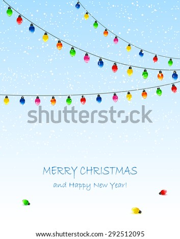 Blue background with electric Christmas lights and falling snow, illustration. - stock photo