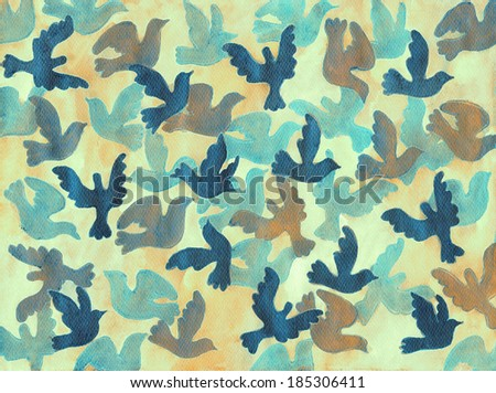 Blue Background with Flying Birds in the Sky. Hand Drawn Illustration. - stock photo