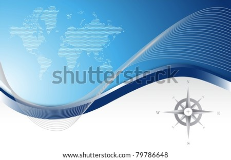 Blue background with map and compass illustration design - stock photo