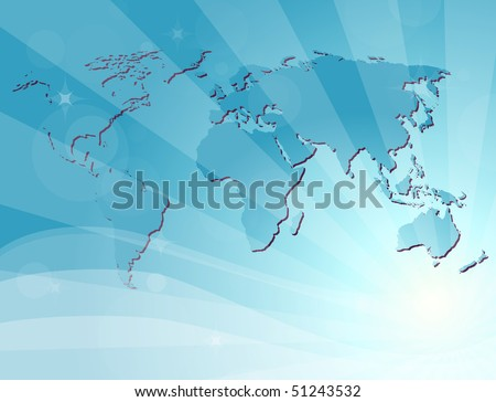 Blue background with map of the world. Vector version available - stock photo