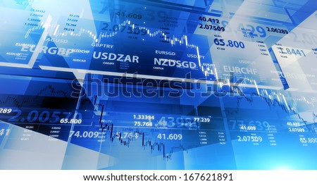 Blue background with market chart and digits - stock photo