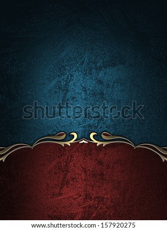 Blue background with red sign with gold border. Design template - stock photo