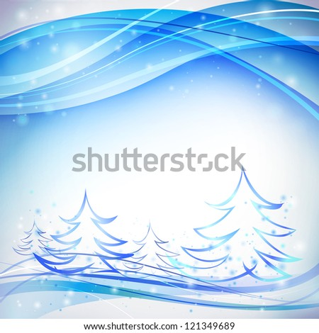 Blue background with snowflakes - stock photo
