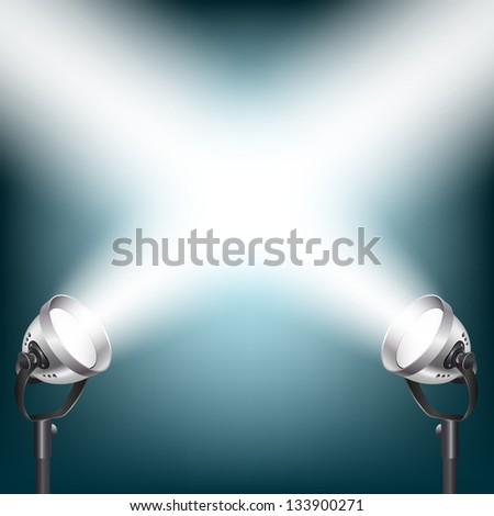 blue background with spot lights - stock photo