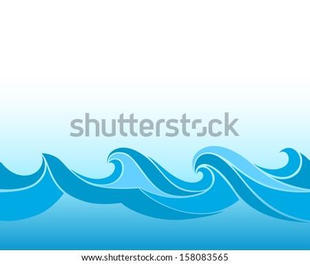 Blue background with stylized waves - stock photo