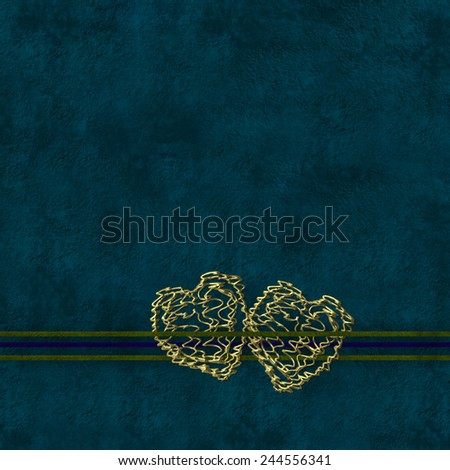 Blue background with two golden hearts and area for photo or text - stock photo