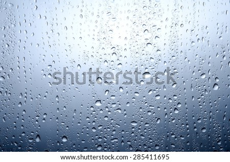 blue background with water drops on glass for background or backdrop