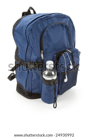 Blue backpack and water with white background