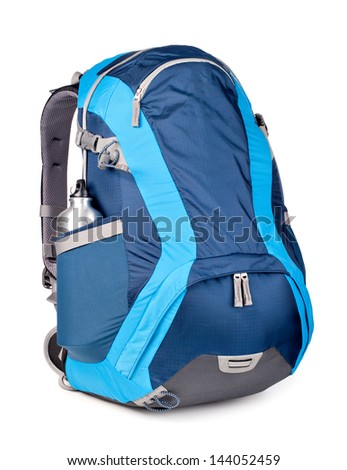 blue backpack, isolated over white. - stock photo