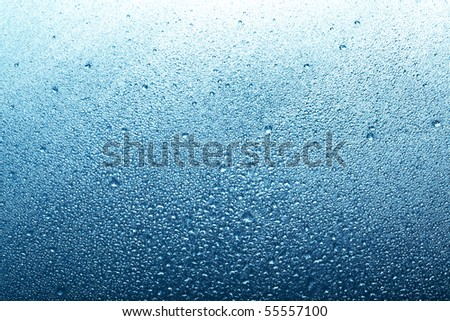 blue backround with water drops - stock photo