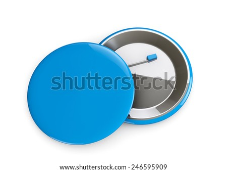 Blue Badges front and back view on a white background - stock photo