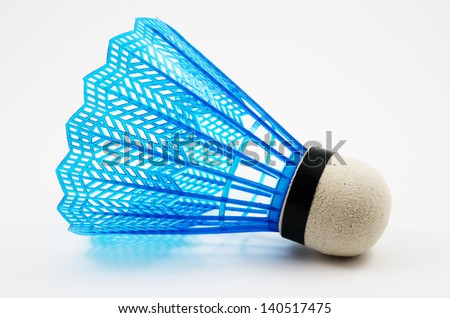 blue badminton shuttlecock on a white background - stock photo