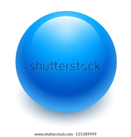 blue ball isolated, abstract - stock photo