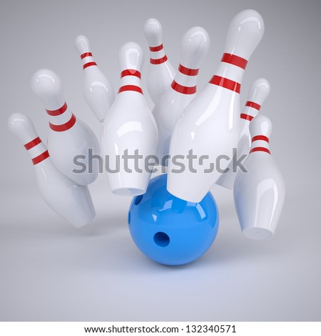 Blue ball knocks down pins for bowling. Render on a gray background - stock photo