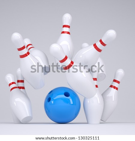 Blue ball knocks down pins for bowling. Render on a grey background - stock photo