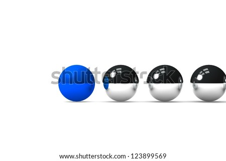Blue ball leading the others - stock photo