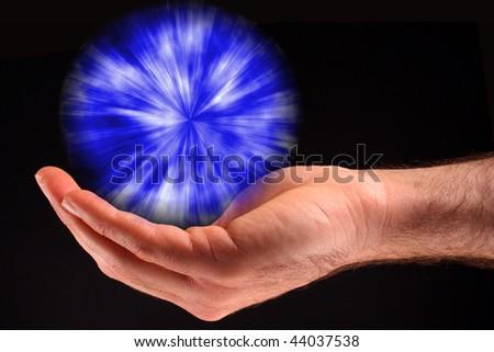 Blue Ball of Light - stock photo