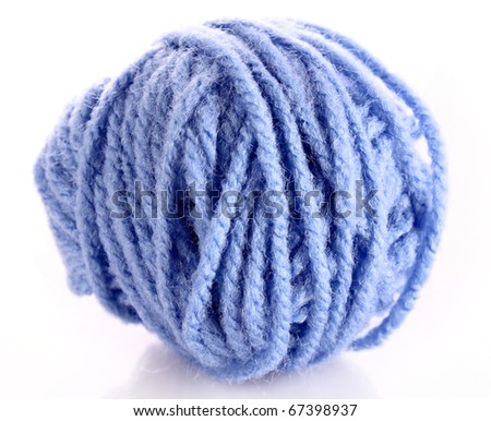Blue ball of woollen red thread isolated on white - stock photo