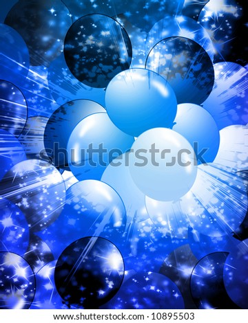 Blue balloons filling the background