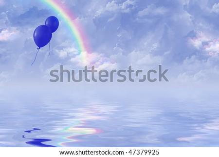 blue balloons in rainbow sky - stock photo