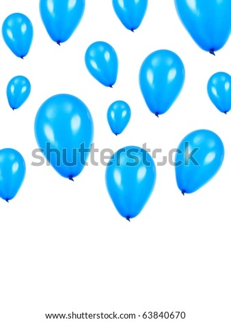 Blue balloons isolated against a white background - stock photo