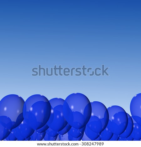 Blue balloons on the blue sky background. - stock photo