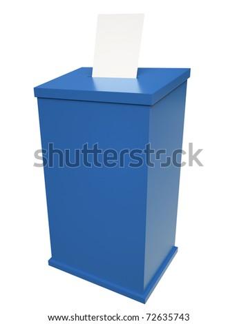 Blue ballot box. 3D render. - stock photo
