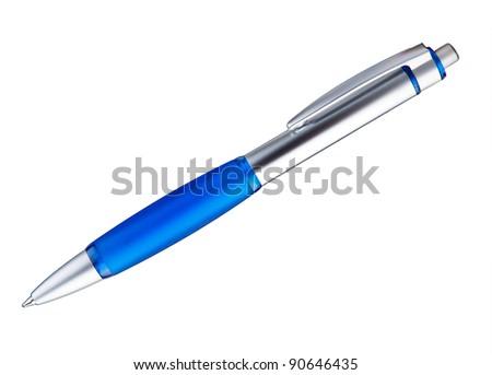 blue ballpoint pen on a white background - stock photo
