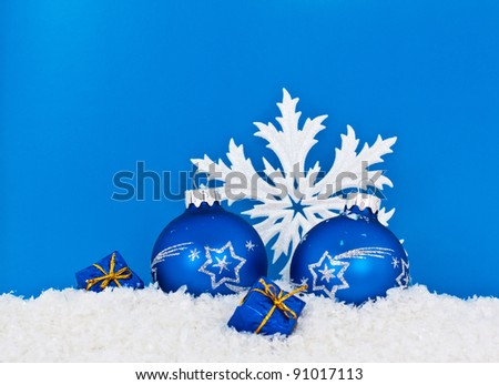 Blue balls, boxes and snowflakes